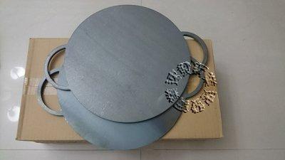 速發~新型雙把手36cm厚10鐵可麗餅盤可麗餅機煎餅盤春捲烙餅潤餅機潤餅盤潤餅皮)蒙古烤肉不底鍋!鐵板燒鐵盤!石板烤肉