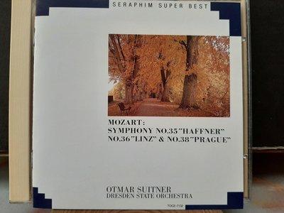 Suitner,Mozart-Sym No.35,36,38,舒特納指揮德勒斯登國家管弦樂團,演繹莫扎特-第35,36,38號交響曲,日本版