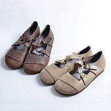 litterluck-韓國專櫃復古文藝單鞋女平底森女系奶奶鞋女圓頭牛筋軟底真皮丑萌娃娃鞋女