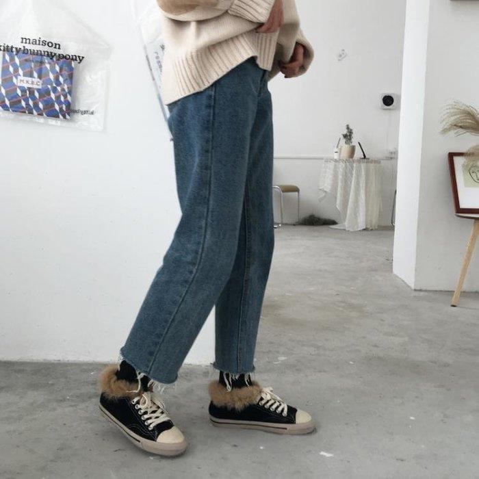 牛仔寬褲  高腰牛仔褲女韓版寬鬆大碼胖mm九分直筒褲學生百搭chic闊腿褲