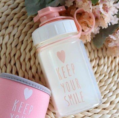 隨手杯韓國創意可愛透明玻璃杯女學生戶外運動便攜水瓶 韓版耐熱水杯子    全館免運