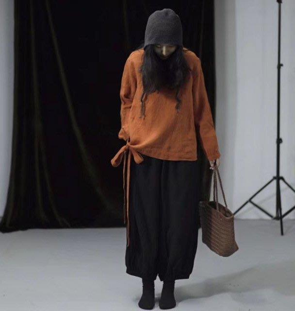 (老銀屋)春裝文藝百搭設計款立領長袖繫帶亞麻上衣