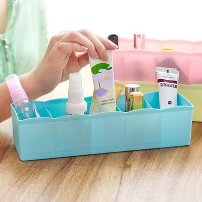 無洞 可疊加 儲物盒 桌面 收納 櫥櫃 抽屜 儲物 收納盒 化妝盒  五格分類整理盒 ❃彩虹小舖❃【A001-4】