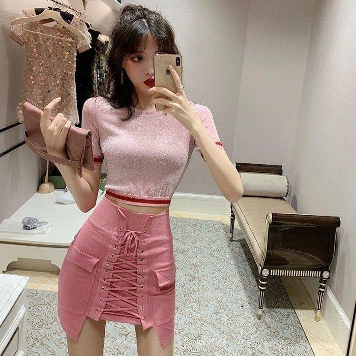 Qmi 2019夏季新款高腰顯瘦系帶包臀半身裙短裙