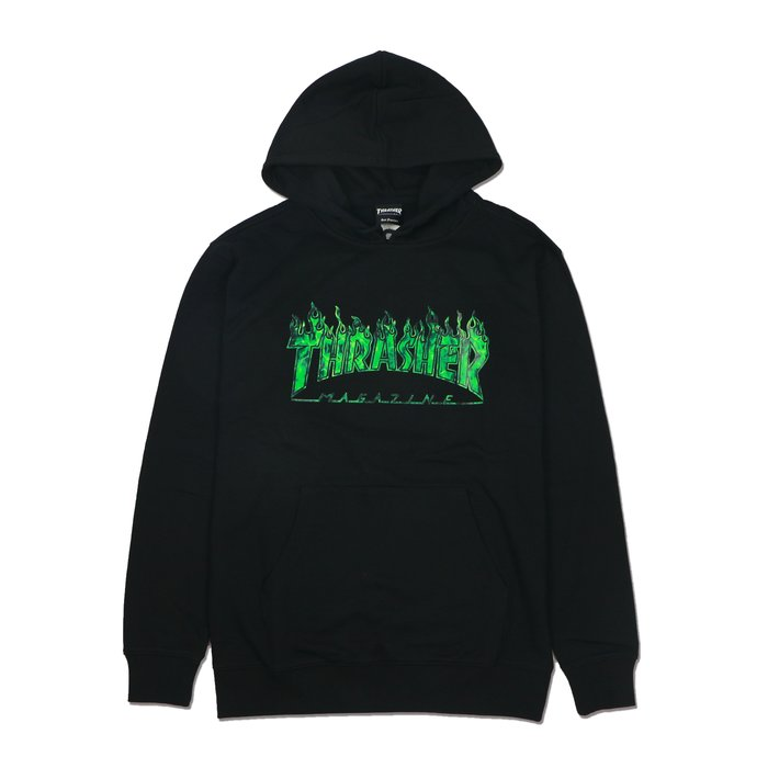 THRASHER GHOST FLAME HOODED 鬼火帽T-BLACK/GREEN【HopesTaiwan】