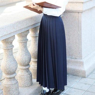 HH櫻花家族JK制服裙 不良少女長裙紺黑多色顯瘦學生百褶長裙HH