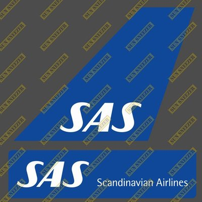 北歐航空 SAS 垂直尾翼與機身商標 貼紙  尺寸上63x86mm 下 23x90mm