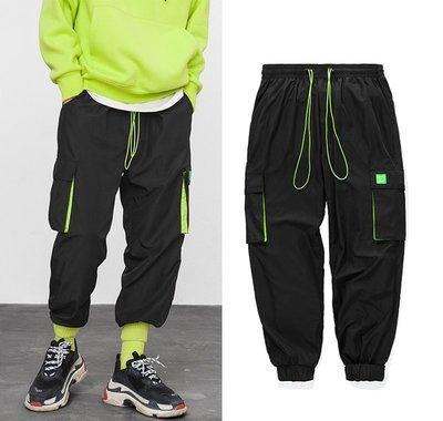 Cover Taiwan 官方直營 風褲 機能運動褲 口袋工裝褲 綁帶 嘻哈 美式 黑色 螢光綠 螢光黃 (預購)