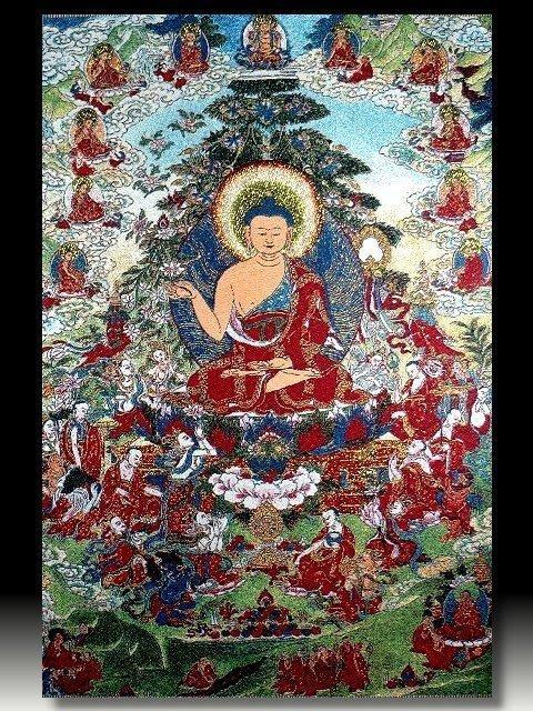 【 金王記拍寶網 】S651 中國西藏藏密佛像刺繡唐卡 釋迦牟尼佛 密宗唐卡一張 完美罕見~