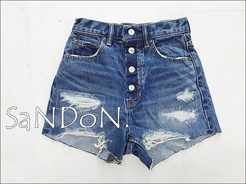 SaNDoN x『SLY』官網尚未上架 實品拍攝 高腰排扣顯瘦復古刷色丹寧牛仔短褲 moussy 170721