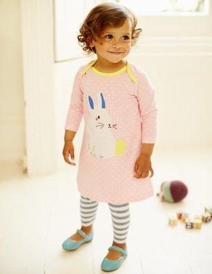 ♡NaNa Baby♡英國Mini Boden【粉嫩點點小兔子拼貼純棉洋裝】(12-18m/18-24m/2-3y)