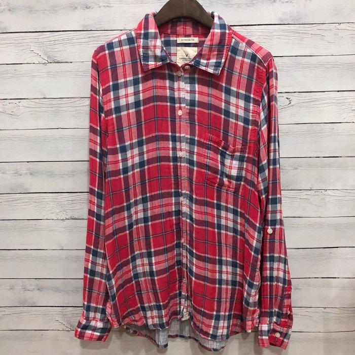 Maple麋鹿小舖 American Eagle * AE 基本款格紋長袖襯衫 * ( 現貨M號 )