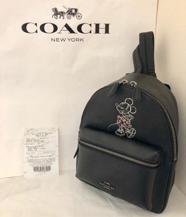 *美國瘋*黑色米妮聯名限量版小後背包 美國Coach正品現貨 免運 附購証紙袋 29353