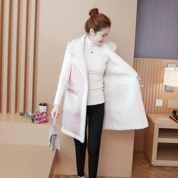 新款中長款寬鬆羊羔毛馬甲外套翻領無袖背心麂皮外套女潮
