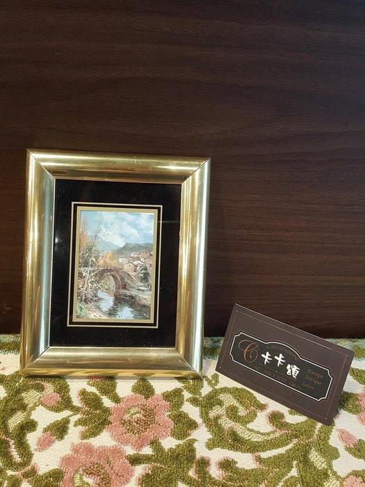 【卡卡頌 歐洲跳蚤市場/歐洲古董】歐洲老件_歐洲 風景 橋 流水 老掛畫 小掛畫 家飾 pa0165