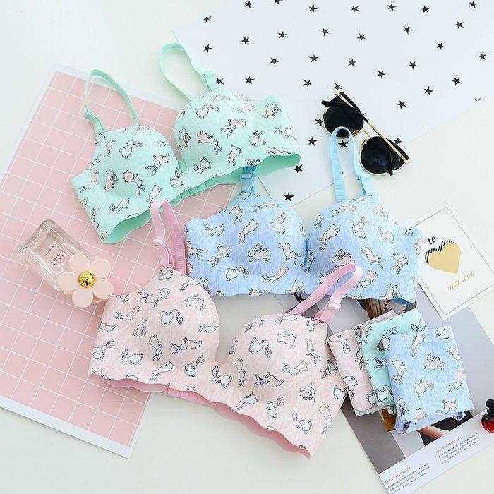 韓國連線 性感可愛兔子無鋼圈內衣套裝【ZOWOO-G0388】一片式粉嫩少女肩帶可拆卸胸罩 內褲