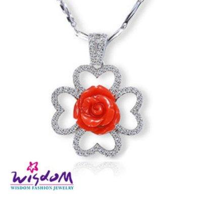 威世登 珊瑚銀墜-天然海洋紅珊瑚 幸運草玫瑰銀墜(不含鍊)-情人禮、生日禮、流行款、熱銷款- CD00044-DEEX