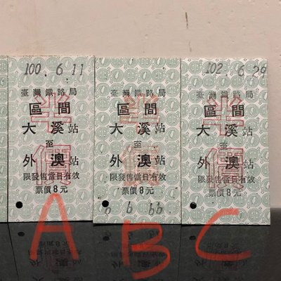 珍藏【臺鐵車票】區間 大溪-外澳 C款102年版半價 名片式車票/硬票