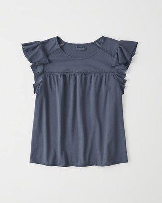 【天普小棧】A&F Abercrombie&Fitch Flutter Sleeve Top荷葉袖圓領上衣短袖T S號