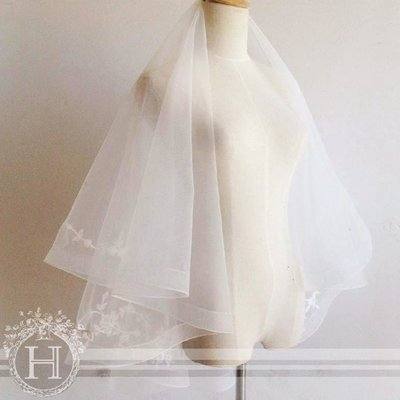 [1888] #380 #新娘面紗 典雅蕾絲花頭紗 蓬蓬立體效果 髮梳頭紗 旅行外拍【H&T Love Story】