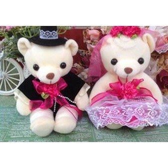 ❤️臻愛婚品館❤️泰迪熊婚紗熊對熊壓床熊~玫紅色