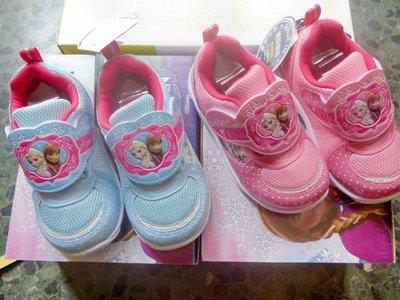 冰雪奇緣 艾莎 安娜 夢幻舒適運動鞋 跑步鞋【F54213/6】臺灣製 粉 水藍色15~19號(CM)