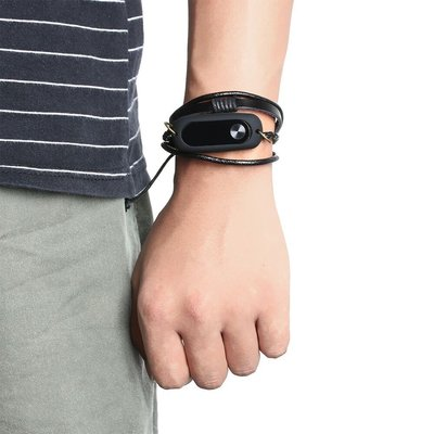 小米4 3 2代智能手環腕帶復古編織皮...