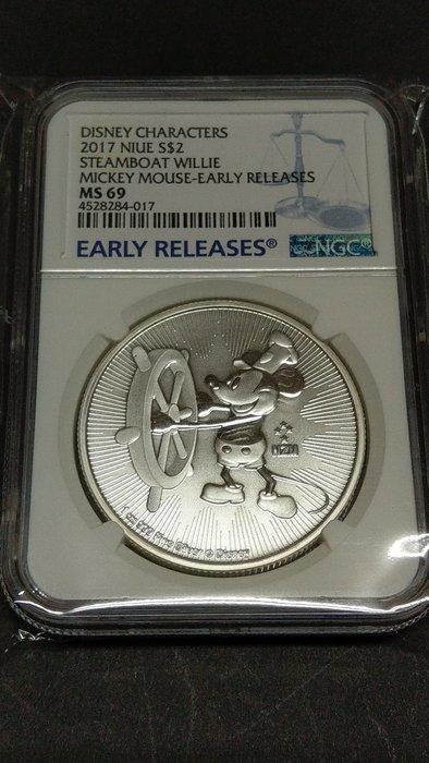 Ω≡ 銀幣 ≡Ω 2017年 / 紐埃 迪士尼 米老鼠 米奇1oz紀念銀幣【 NGC MS 69 】