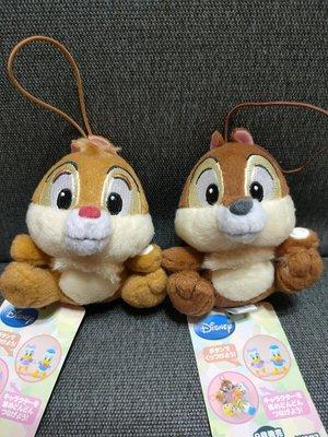 日本SEGA限定景品--DISNEY正版[ 小松鼠奇奇蒂蒂]小型絨毛掛飾娃娃兩隻一組