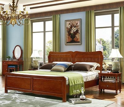 [紅蘋果傢俱] T8902 歐式全實木系列 六尺床 數千坪展示