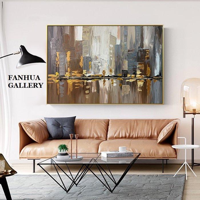 C - R - A - Z - Y - T - O - W - N 純手繪油畫立體筆觸城市倒影厚肌理抽象巨幅油畫掛畫住宅高級別墅設計師款立體抽象油畫收藏品畫