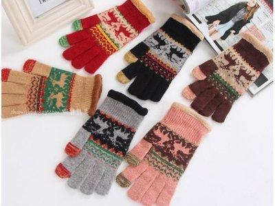 蝦靡龍美【KT499】手機 觸摸屏 觸控手套 兔 羊毛 手套 冬季 觸屏 手套 男 女士 保暖 聖誕節 交換禮物