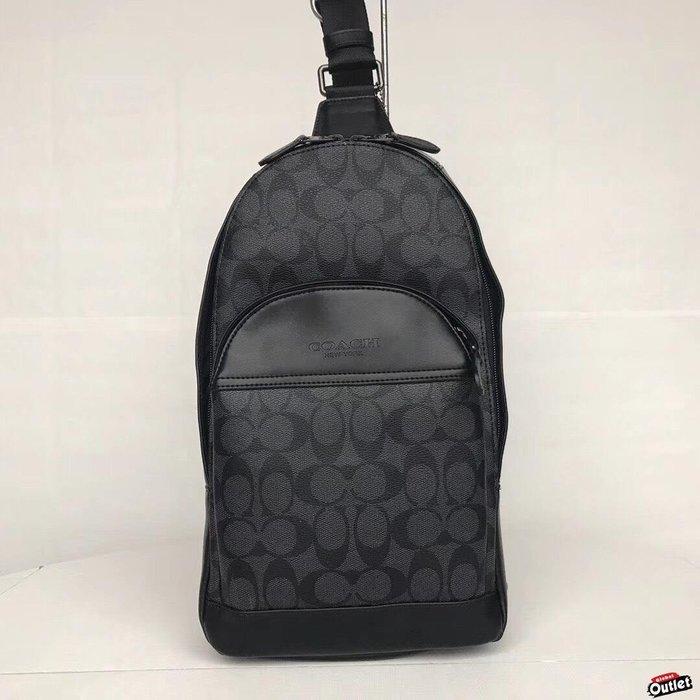 【全球購.COM】COACH 寇馳 39942 新款前置口袋 logo黑灰色胸包 男士側背包 斜背包 美國代購