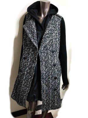 毛料毛呢拼接針織雙排釦腰帶長大衣