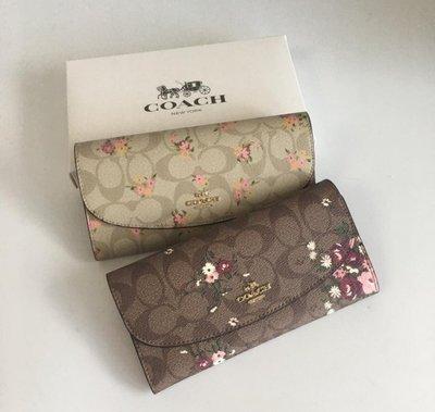 (Outlet特惠)COACH 29395 新款女士花卉印花長款皮夾 手拿包 內置12個卡位 附購買證明