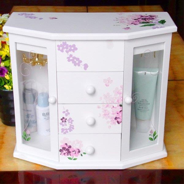 5Cgo【鴿樓】會員有優惠  14996982681 歐式田園風格首飾盒 手繪木制化妝盒 木質化妝品收納盒 儲物盒