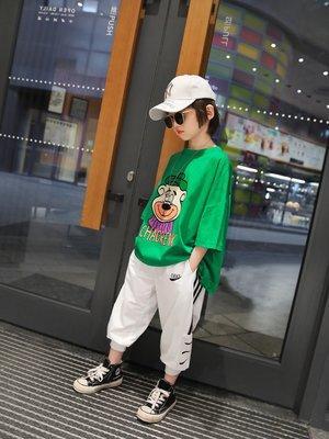 思家良品童裝 男大童 21/04/22夏季新品115-170公分韓版 男童 寬鬆薄款 卡通印花 短袖T恤 綠色 白色