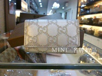 ::MINI名牌精品店:: GUCCI 13809 銀色 牛皮 鑰匙包 壓釦開合 6孔鑰使包 8成新