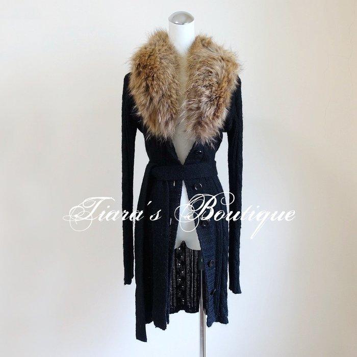 Le souk 日本品牌 鐵灰色亮麗針織衫 外套 罩衫 奢華浣熊皮草領 實穿度高的時尚單品 全新品 (296)