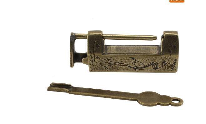 【古韻之家】 中式橫開掛鎖  仿古小銅鎖 櫃子鎖箱子鎖 插銷門鎖 純銅刻花鎖