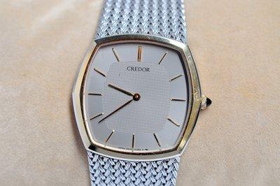 《寶萊精品》CREDOR 貴朵金灰色石英男士錶