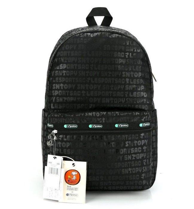 LeSportsac x Snoopy 黑色史努比 8266 旅行雙肩降落傘防水後背包 7990 限時優惠