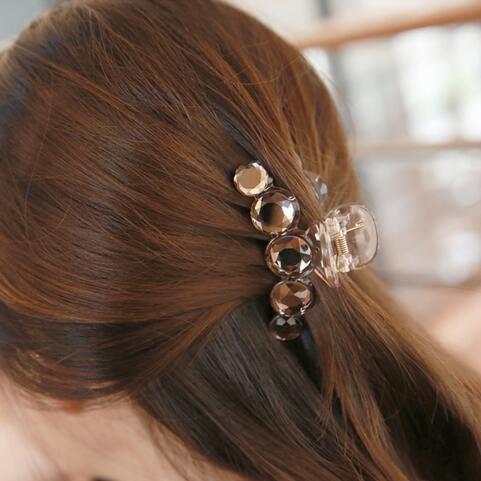 Lissom韓國代購~韓國進口正品髪飾髪夾可愛韓版透亮亞克力圓形弧形中號抓夾髪抓