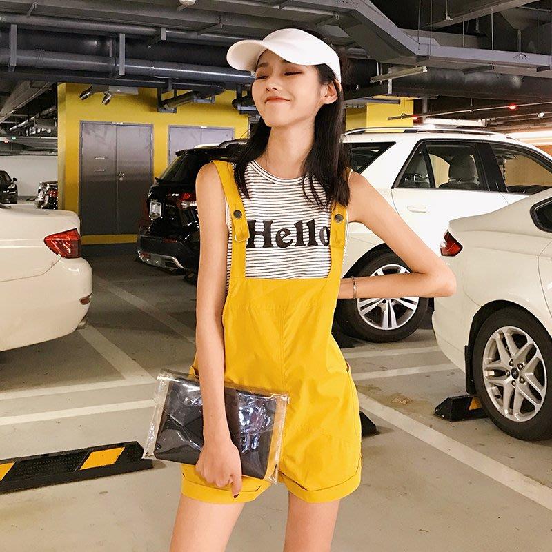 百搭 潮流 時尚 個性 韓版小清新學院風百搭背帶褲短褲無袖打底條紋T恤時尚學生新款套裝潮