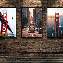 風景裝飾畫加州風光舊金山洛杉磯旅行海報貼畫金門大橋書房掛畫(不含框)