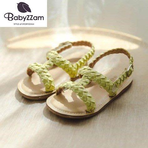 『※妳好,可愛※』韓國童鞋 Babyzzam 正韓 編織Y字涼鞋 兒童涼鞋  女童涼鞋 涼鞋