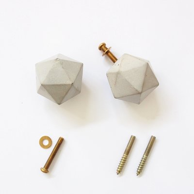 FENEN 返岸設計-手工製 水泥 單點單孔 五金把手/掛勾-幾何二十面體