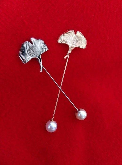 (老銀屋)設計師原創/歐美文藝仿古銀古銅金作舊金屬銀杏葉珍珠別針/胸針