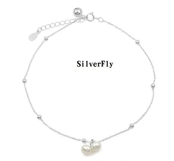小珍珠純銀時尚腳鍊《 SilverFly銀火蟲銀飾 》