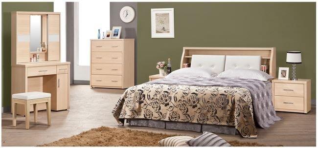 【DH】商品貨號VC231-2商品名稱《約里》5尺白橡床套組5尺檯+床頭櫃x1+斗櫃+鏡台含椅(圖一)主要地區免運費